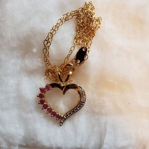 18k gold necklace with ruby's